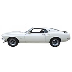 Automobile, 1969 Mustang Boss 429.  Wimbledon white with black interior. 429-4V Boss engine (7.0L Se