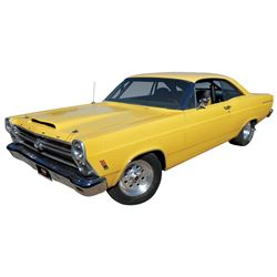 Automobile, 1966 Ford Fairlane 500 Clone. Yellow with black interior. Fresh built 428 Cobra Jet engi