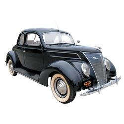 Automobile, 1937 Ford Club Coupe. Black with new original style mohair interior. Flathead V-8. Radio