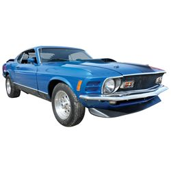 Automobile, 1970 Ford Mustang Mach I Coupe.   Blue (new fresh paint) with black interior. 351 Clevel