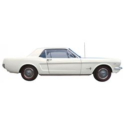 Automobile, 1966 Ford Mustang Coupe.  Wimbledon white, standard blue interior. Legendary K-Code 289