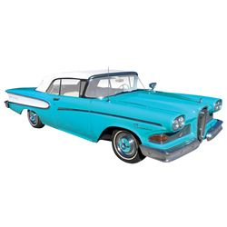 Automobile, 1958 Edsel Pacer Convertible. Light blue-green color with white interior. 361 (400E) eng