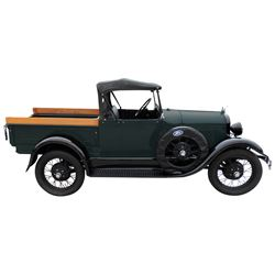 Pick-Up, 1929 Ford Model A Roadster.  Black and green with black interior and black convertible top.