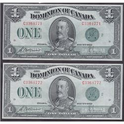 Lot of Two Consecutive 1923 Dominion of Canada One Dollar Notes