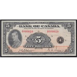 1935 Bank of Canada Five Dollars - Low Serial Number