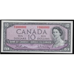 1954 Bank of Canada Ten Dollars - Million Numbered Note