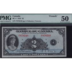 1935 Bank of Canada Two Dollars French Text