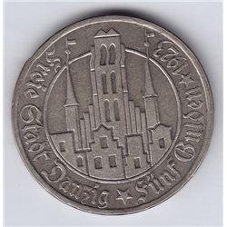 World Coins - Danzig 5 Gulden 1923