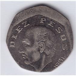 World Coins - Mexico 10 Pesos Error 1981