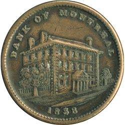 BR. 523. Bank of Montreal Sideview Penny, 1838.