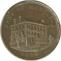 Br. 523. Bank of Montreal Sideview Penny, 1839.