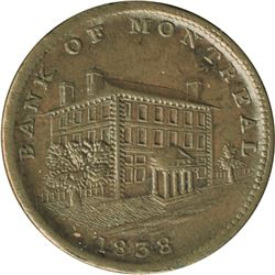 Br. 524. Bank of Montreal Sideview Halfpenny, 1838.
