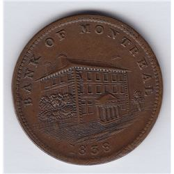 Br. 524. Bank of Montreal Sideview Halfpenny, 1838. Not a Loye specimen.