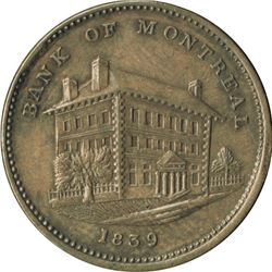 Br. 524. Bank of Montreal Sideview Halfpenny, 1839.
