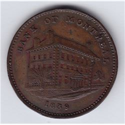 Br. 524. Bank of Montreal Sideview Halfpenny, 1839. Not a Loye specimen.