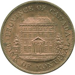 Br. 527. Bank of Montreal Front View Halfpenny, 1844.
