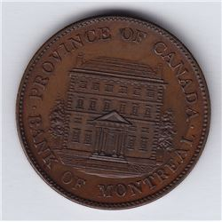 Br. 527. Bank of Montreal Front View Halfpenny, dated 1845.