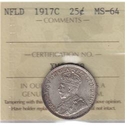 1917c Newfoundland Twenty Five Cents