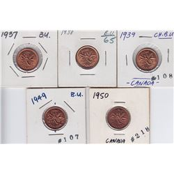 Lot of Five Uncirculated Small Cents