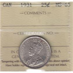 1931 Twenty Five Cents