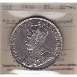 1936 Silver Dollar J.O.P. Counterstamped.