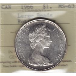 1966 Silver Dollar - Slightly Rotated Dies - Large Beads
