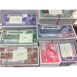 Massive lot of Canadian Tire Money with over $1300 face value