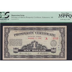 1936 Prosperity Certificate One Dollar, Aug. 5
