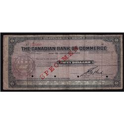 Canadian Bank of Commerce Travellers Cheque Specimen