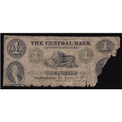 1860 Central Bank of New Brunswick One Dollar