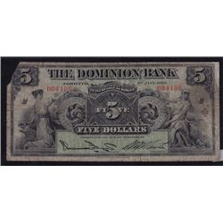 1925 Dominion Bank Five Dollars