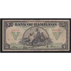 1922 Bank of Hamilton Five Dollars