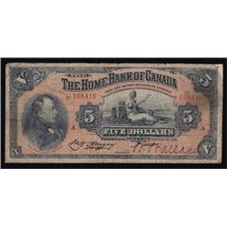 1917 Home Bank of Canada Five Dollars