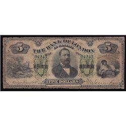 1883 Bank of London Five Dollars
