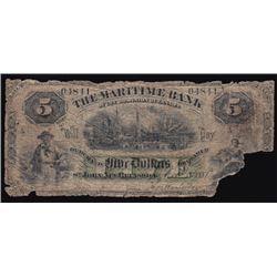 1881 The Maritime Bank Five Dollars