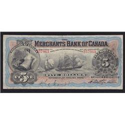 1900 Merchants Bank of Canada Five Dollars