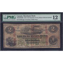1877 Merchants Bank of Prince Edward Island Two Dollars