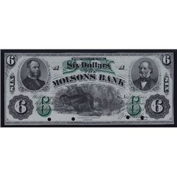 1871 Molsons Bank Six Dollars Front and Back Proofs