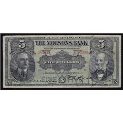 1908 Molson's Bank Five Dollars