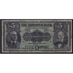 1918 Molsons Bank Five Dollars