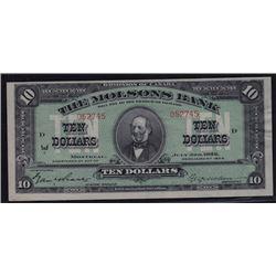 1922 Molsons Bank Ten Dollars