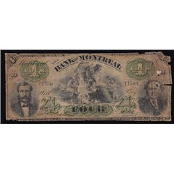 1871 Bank of Montreal Four Dollars