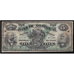 1895 Bank of Montreal Five Dollars