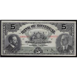1914 Bank of Montreal Five Dollars