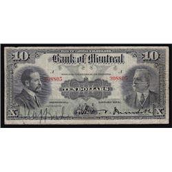 1914 Bank of Montreal Ten Dollars
