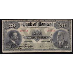 1914 Bank of Montreal Twenty Dollars