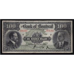 1914 Bank of Montreal One Hundred Dollars