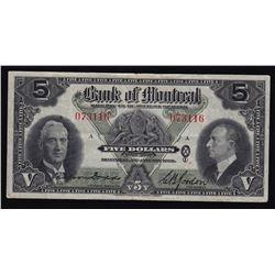 1938 Bank of Montreal Five Dollars