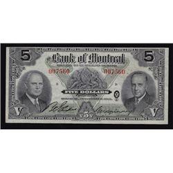 1942 Bank of Montreal Five Dollars