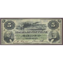 Rare Niagara District Bank Five Dollar, 1872 - Possibly Unique in Private Hands